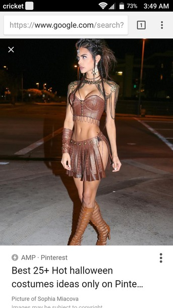 like follow  sc 1 st  Where To Get It & top brown leather costume halloween halloween costume warrior ...