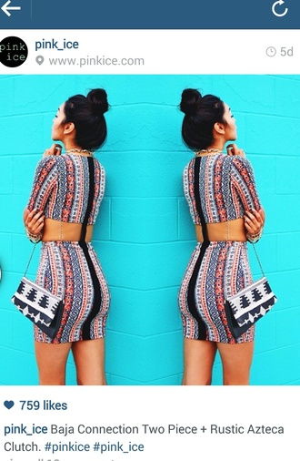 dress aztec two-piece fitted dress clutch shoulder clutch bag tote bag