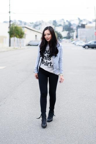 the fancy pants report blogger t-shirt jacket black jeans