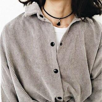 shirt blouse corduroy cardigan corduroy jacket grey jacket coat