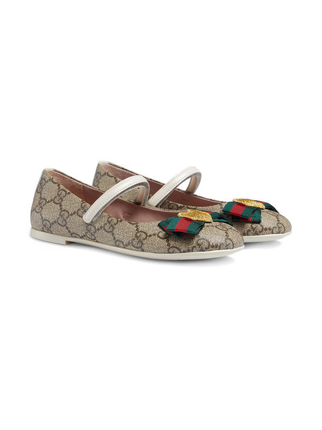 Gucci Kids ballet leather nude shoes