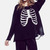 New Punk Women Pullover Hollow skeleton Print Hole Knit Top Sweater White/Black