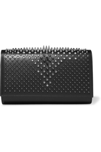 leather clutch clutch leather silver black bag