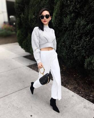 pants tumblr white pants culottes white culottes bag handbag sweater knit knitted sweater cropped sweater long sleeve crop top sunglasses boots black boots