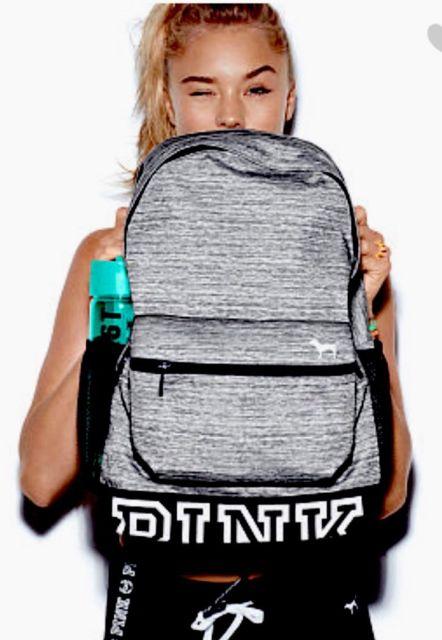 Victoria S Secret Pink Campus Grey Marl Logo Backpack