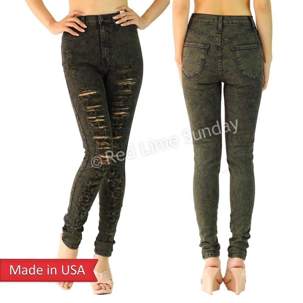 Hot Sexy Olive High Waist Ripped Distressed Skinny Frayed Jeans Shred Pants USA
