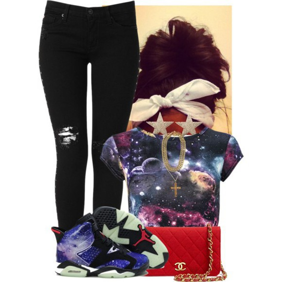 jeans cute fashion t-shirt galaxy black purple bag