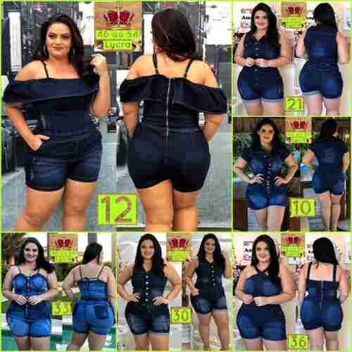 Macacao Jeans Plus Size Moda Blogueira Gg Leminsk Deluxe - R$ 117,98