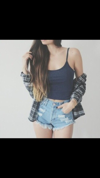 tank top blouse cropped cute shorts striped cardigan