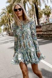 dress,blue dress,floral dress,sunglasses,short dress