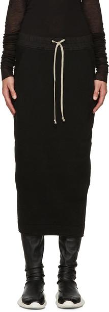 Rick Owens Drkshdw Black Cotton Jersey Skirt