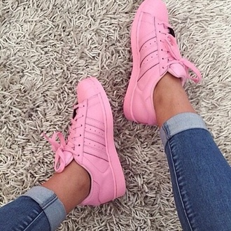 shoes superstar adidas pink pale pink supercolourr