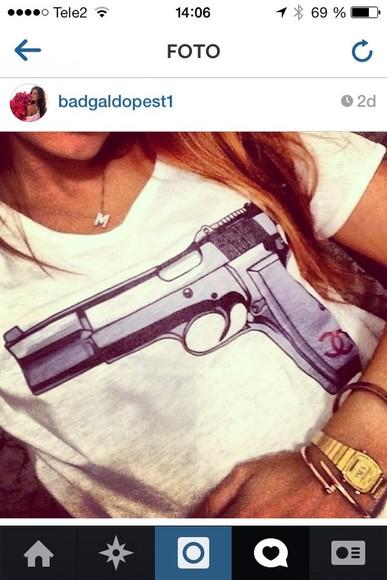 gun chanel t-shirt chanel need it please t-shirt