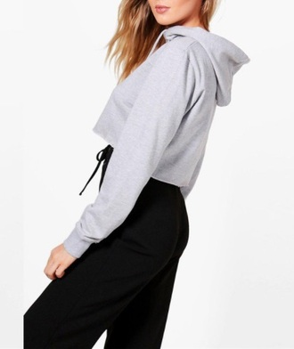 jacket grey girly grey sweater crop cropped sweater hoodie