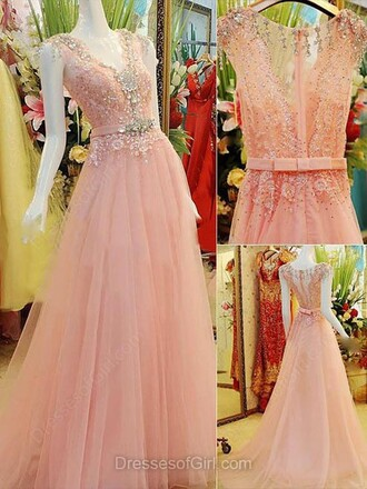 dress a-line v neck elastic woven satin sweep train prom dress pink prom elegant formal homecoming dress sparkle romantic dressofgirl maxi dress pink maxi dress
