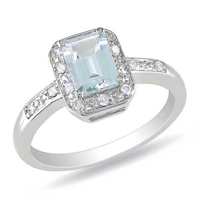 emerald cut aquamarine and accent ring in
