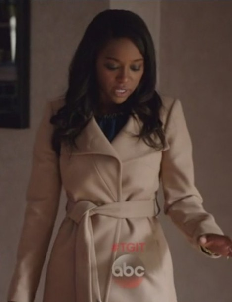 coat belted how to get away with murder Aja Naomi King taupe Michaela Pratt