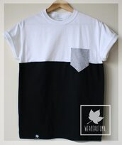 t-shirt,weareautumn,vintage,floral,dip dyed,black,white,unisex,boyfriend,indie,pocket t-shirt