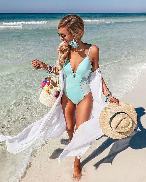 swimwear summer hat bag one piece swimsuit one piece earrings sunglasses