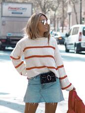 mesvoyagesàparis,blogger,sweater,skirt,bag,shoes,sunglasses,denim skirt,belt bag,fall outfits,gucci bag