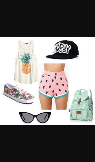 top pineapple shirt shorts