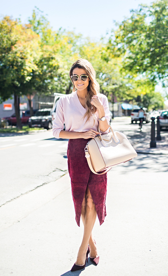 hello fashion blogger fall outfits suede skirt oxblood pink sweater