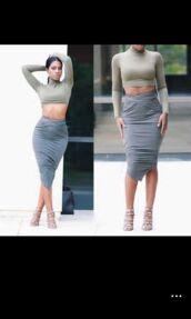 green,grey dress,grey,long sleeves,crop tops,top,skirt,skirts and tops,pencil skirt,tight,midi skirt