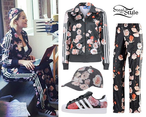 uk availability 34251 6c21e Rita Ora Floral Adidas Track Suit Steal Her Style