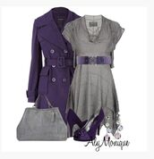 dress,top,grey dress,cap sleeves,belt,uneven hem,flowy,coat,jacket,trench coat,violet coat,bag,purse,shoes,heels,high heels,violet heels,violet pumps,peep toe pumps,earrings,clothes,outfit,jersey dress