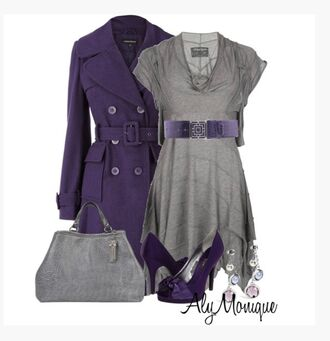dress top grey dress cap sleeves belt uneven hem flowy coat jacket trench coat violet coat bag purse shoes heels high heels violet heels violet pumps peep toe pumps earrings clothes outfit jersey dress