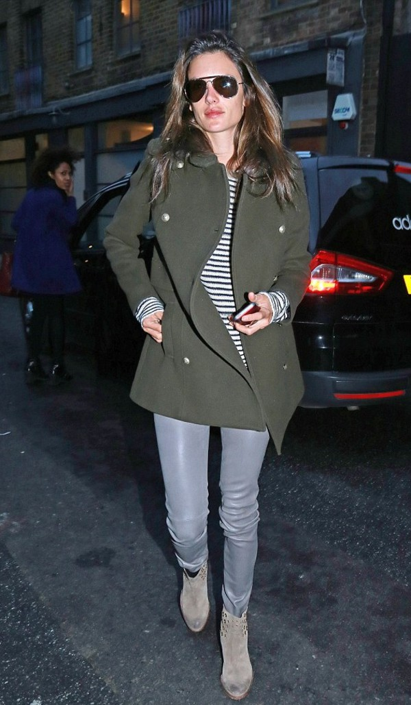top stripes alessandra ambrosio boots fall outfits pants coat ankle boots shoes