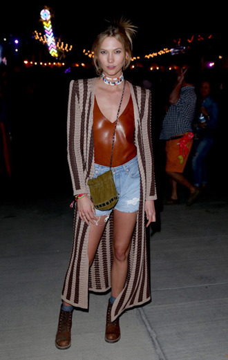 cardigan top coachella karlie kloss bag denim shorts leather top brown jacket combat boots tina wong tinaswardrobe blogger