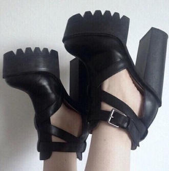 shoes black platform shoes high heels heels