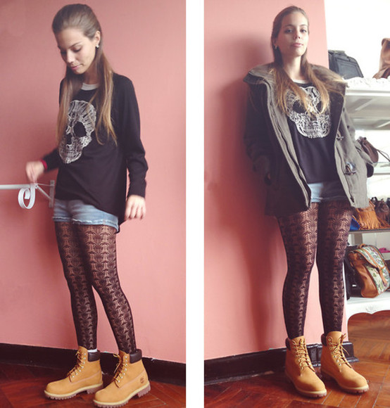 underwear timberlands lace leggings fishnet shorts longsleeve shirt jacket cute