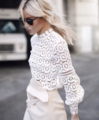 blouse white blouse white lace lace blouse blonde hair black sunglasses romantic office outfits long sleeves