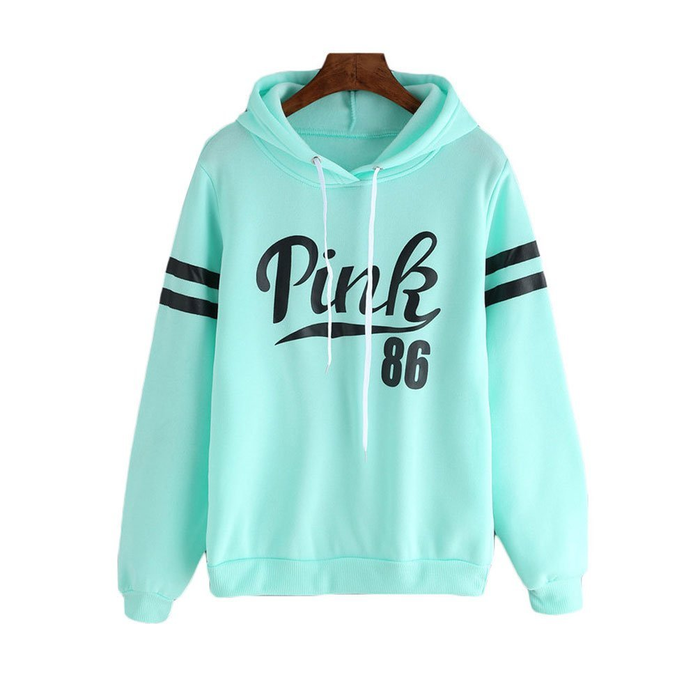 com: Cute Blue Hoodies 2016 Spring Women Pink Sweatshirt (Size M ...