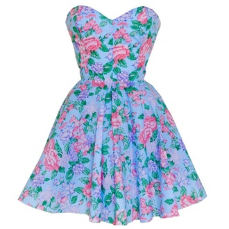 dress styleiconscloset.com blue strapless floral 50s dress