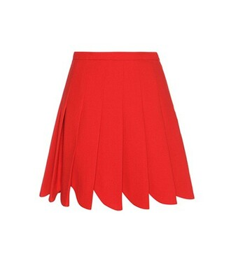 skirt pleated wool red