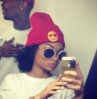 sunglasses red heart hat emoji print beanie yellow red beanie india westbrooks