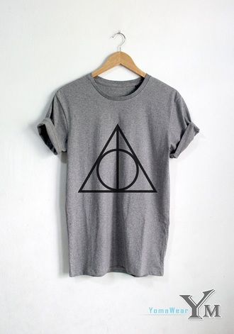 harry potter top shirt harry potter and the deathly hallows grey t-shirt t-shirt