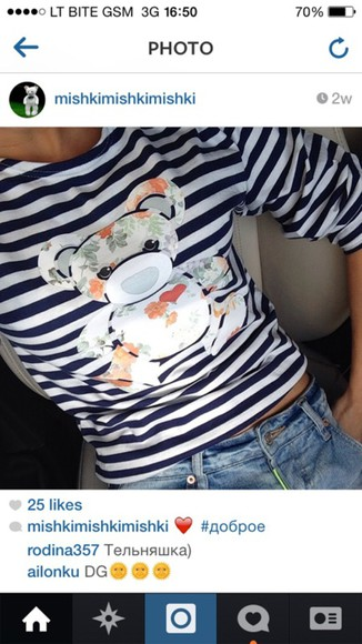 t-shirt striped shirt bear floral