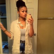 jewels,necklace,gold,cream,jacket,shorts,stripes,white,black,top,fries,iphone,phone cover,india,westbrooks,shirt