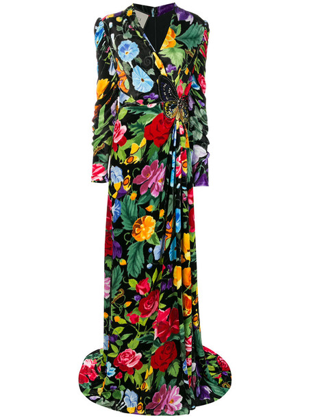 gucci gown women floral cotton silk dress