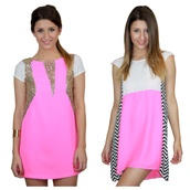 dress,pink,neon pink,fluo,hot pink,hot pink dress,party dress,sequin dress,high-low dresses