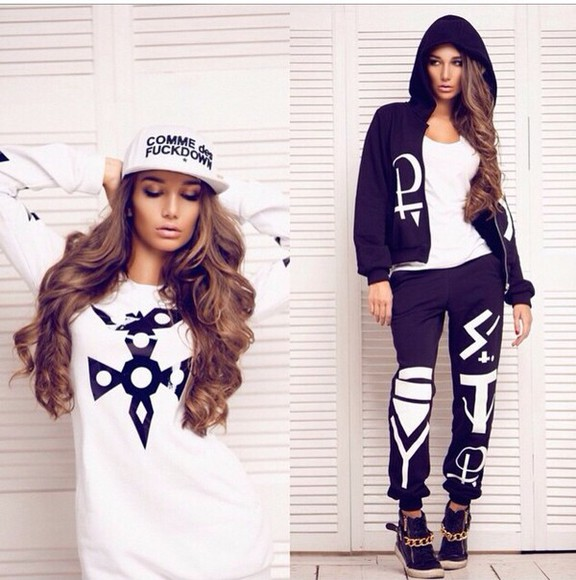 geometric black white pants sweater hat prints