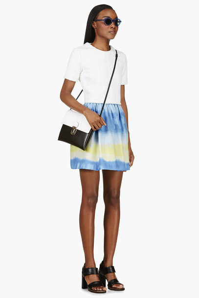 skirt blue yellow & blue tie-dye skirt black leather heeled sandals sandals black & white eco-leather shoulder bag shoulder bag white embossed grid print blouse blouse misty blue emil sunglass sunglasses bag shoes