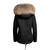 RACCOON FUR COLLAR BLACK PARKA JACKET (FUR LINED ) NATURAL – Luxy Accessories