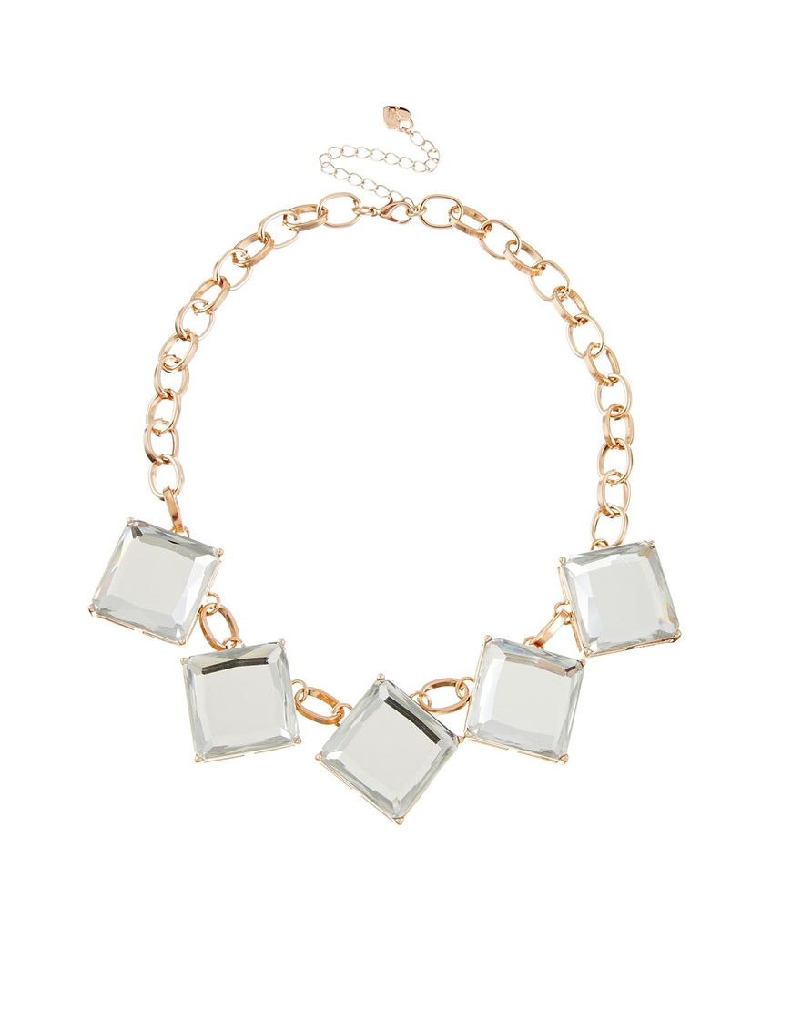 Lipsy Square Crystal Necklace at asos.com