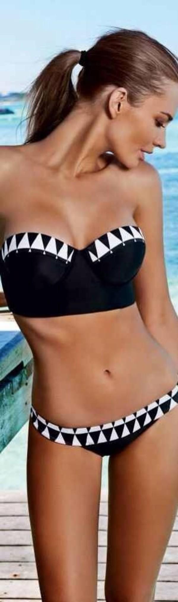 swimwear bandeau bikini black bikini top bikini black bikini black and white geometric