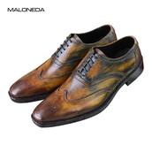 shoes,men dress shoes,men mixed color shoes,men goodyear handmade shoes,lace up leather shoes,men formal dress shoes,men soft leather shoes